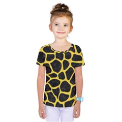 Skin1 Black Marble & Yellow Colored Pencil Kids  One Piece Tee