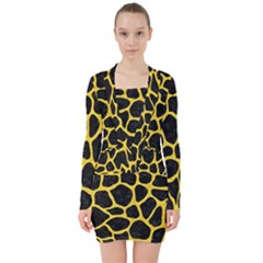 Skin1 Black Marble & Yellow Colored Pencil V Neck Bodycon Long Sleeve Dress