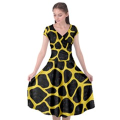 Skin1 Black Marble & Yellow Colored Pencil Cap Sleeve Wrap Front Dress
