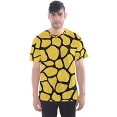 Skin1 Black Marble & Yellow Colored Pencil (r) Men s Sports Mesh Tee
