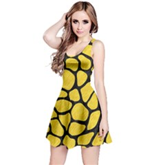 Skin1 Black Marble & Yellow Colored Pencil (r) Reversible Sleeveless Dress