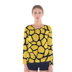 Skin1 Black Marble & Yellow Colored Pencil (r) Women s Long Sleeve Tee