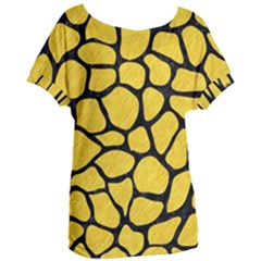 Skin1 Black Marble & Yellow Colored Pencil (r) Women s Oversized Tee