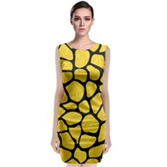 Skin1 Black Marble & Yellow Colored Pencil (r) Classic Sleeveless Midi Dress