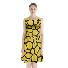 Skin1 Black Marble & Yellow Colored Pencil (r) Sleeveless Waist Tie Chiffon Dress