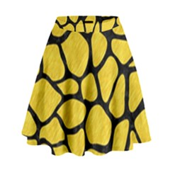 Skin1 Black Marble & Yellow Colored Pencil (r) High Waist Skirt