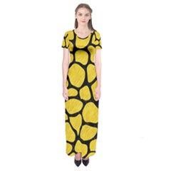 Skin1 Black Marble & Yellow Colored Pencil (r) Short Sleeve Maxi Dress
