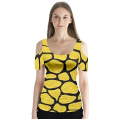 Skin1 Black Marble & Yellow Colored Pencil (r) Butterfly Sleeve Cutout Tee