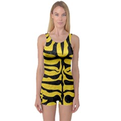 Skin2 Black Marble & Yellow Colored Pencil One Piece Boyleg Swimsuit