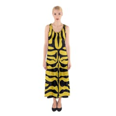 Skin2 Black Marble & Yellow Colored Pencil Sleeveless Maxi Dress
