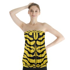 Skin2 Black Marble & Yellow Colored Pencil Strapless Top