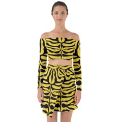 Skin2 Black Marble & Yellow Colored Pencil Off Shoulder Top With Skirt Set