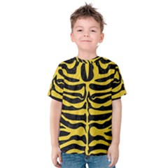 Skin2 Black Marble & Yellow Colored Pencil (r) Kids  Cotton Tee