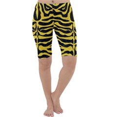 Skin2 Black Marble & Yellow Colored Pencil (r) Cropped Leggings