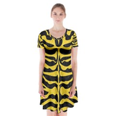 Skin2 Black Marble & Yellow Colored Pencil (r) Short Sleeve V Neck Flare Dress