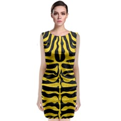 Skin2 Black Marble & Yellow Colored Pencil (r) Classic Sleeveless Midi Dress
