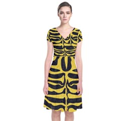 Skin2 Black Marble & Yellow Colored Pencil (r) Short Sleeve Front Wrap Dress