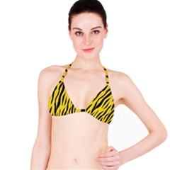 Skin3 Black Marble & Yellow Colored Pencil Bikini Top
