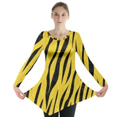 Skin3 Black Marble & Yellow Colored Pencil Long Sleeve Tunic