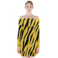 Skin3 Black Marble & Yellow Colored Pencil Long Sleeve Off Shoulder Dress