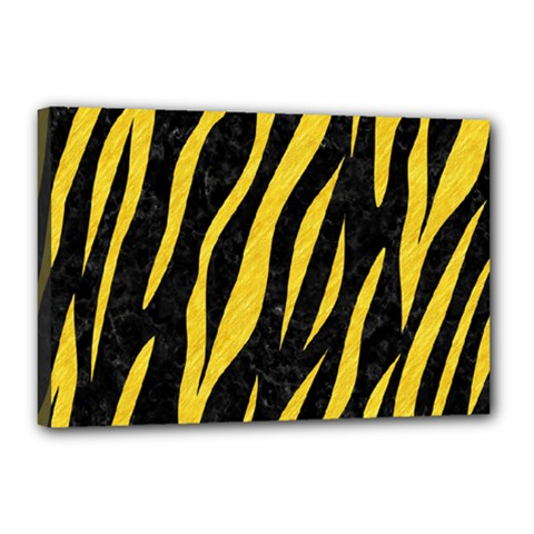 Skin3 Black Marble & Yellow Colored Pencil (r) Canvas 18  X 12
