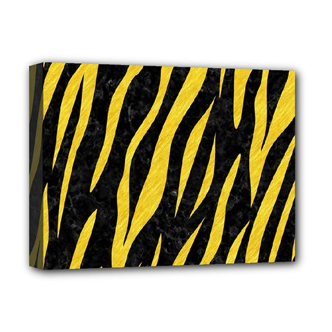 Skin3 Black Marble & Yellow Colored Pencil (r) Deluxe Canvas 16  X 12