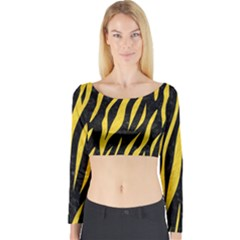 Skin3 Black Marble & Yellow Colored Pencil (r) Long Sleeve Crop Top
