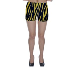 Skin3 Black Marble & Yellow Colored Pencil (r) Skinny Shorts