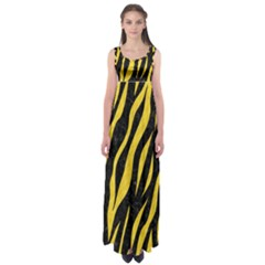 Skin3 Black Marble & Yellow Colored Pencil (r) Empire Waist Maxi Dress