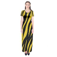 Skin3 Black Marble & Yellow Colored Pencil (r) Short Sleeve Maxi Dress