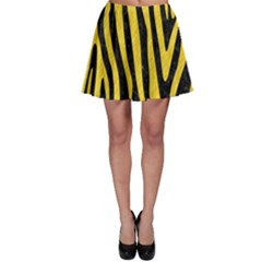 Skin4 Black Marble & Yellow Colored Pencil Skater Skirt
