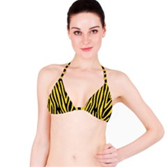 Skin4 Black Marble & Yellow Colored Pencil Bikini Top