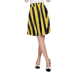 Skin4 Black Marble & Yellow Colored Pencil A Line Skirt