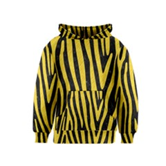 Skin4 Black Marble & Yellow Colored Pencil Kids  Pullover Hoodie