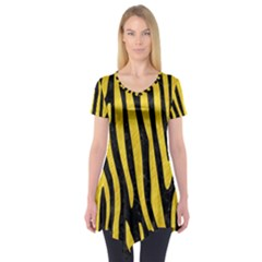 Skin4 Black Marble & Yellow Colored Pencil Short Sleeve Tunic