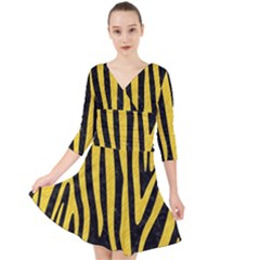 Skin4 Black Marble & Yellow Colored Pencil Quarter Sleeve Front Wrap Dress