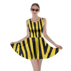 Skin4 Black Marble & Yellow Colored Pencil (r) Skater Dress
