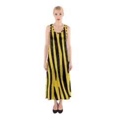 Skin4 Black Marble & Yellow Colored Pencil (r) Sleeveless Maxi Dress