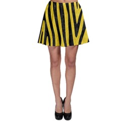 Skin4 Black Marble & Yellow Colored Pencil (r) Skater Skirt