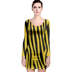 Skin4 Black Marble & Yellow Colored Pencil (r) Long Sleeve Bodycon Dress