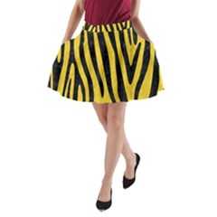 Skin4 Black Marble & Yellow Colored Pencil (r) A Line Pocket Skirt