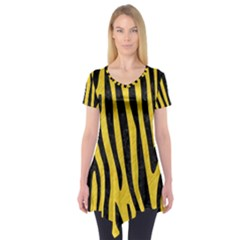 Skin4 Black Marble & Yellow Colored Pencil (r) Short Sleeve Tunic