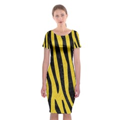 Skin4 Black Marble & Yellow Colored Pencil (r) Classic Short Sleeve Midi Dress