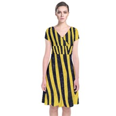 Skin4 Black Marble & Yellow Colored Pencil (r) Short Sleeve Front Wrap Dress