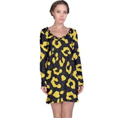 Skin5 Black Marble & Yellow Colored Pencil Long Sleeve Nightdress