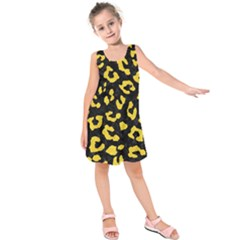 Skin5 Black Marble & Yellow Colored Pencil Kids  Sleeveless Dress