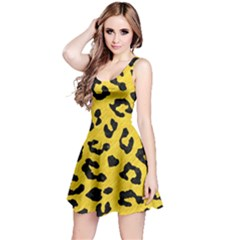 Skin5 Black Marble & Yellow Colored Pencil (r) Reversible Sleeveless Dress