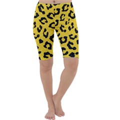 Skin5 Black Marble & Yellow Colored Pencil (r) Cropped Leggings