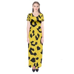 Skin5 Black Marble & Yellow Colored Pencil (r) Short Sleeve Maxi Dress