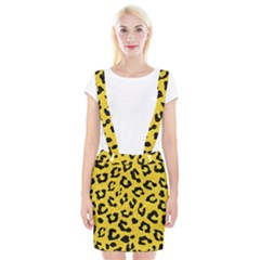 Skin5 Black Marble & Yellow Colored Pencil (r) Braces Suspender Skirt